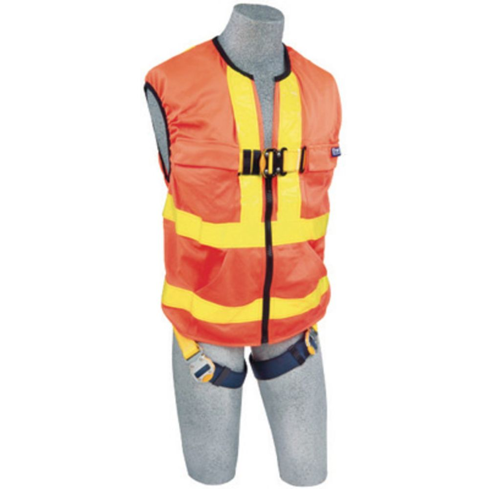 3M DBI-SALA 2X Delta Hi-Vis Reflective Work Vest Style Harness With Back D-Ring And Quick Connect Buckle Leg Strap