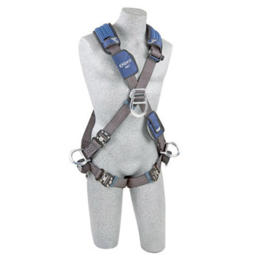 3M DBI-SALA Large ExoFit NEX Cross Over Full Body Style Harness With Tech-Lite Aluminum Back, Front And Side D-Ring, Duo-Lok Quick Connect Leg Strap Buckle, Torso Adjuster, Back And Leg Comfort Padding