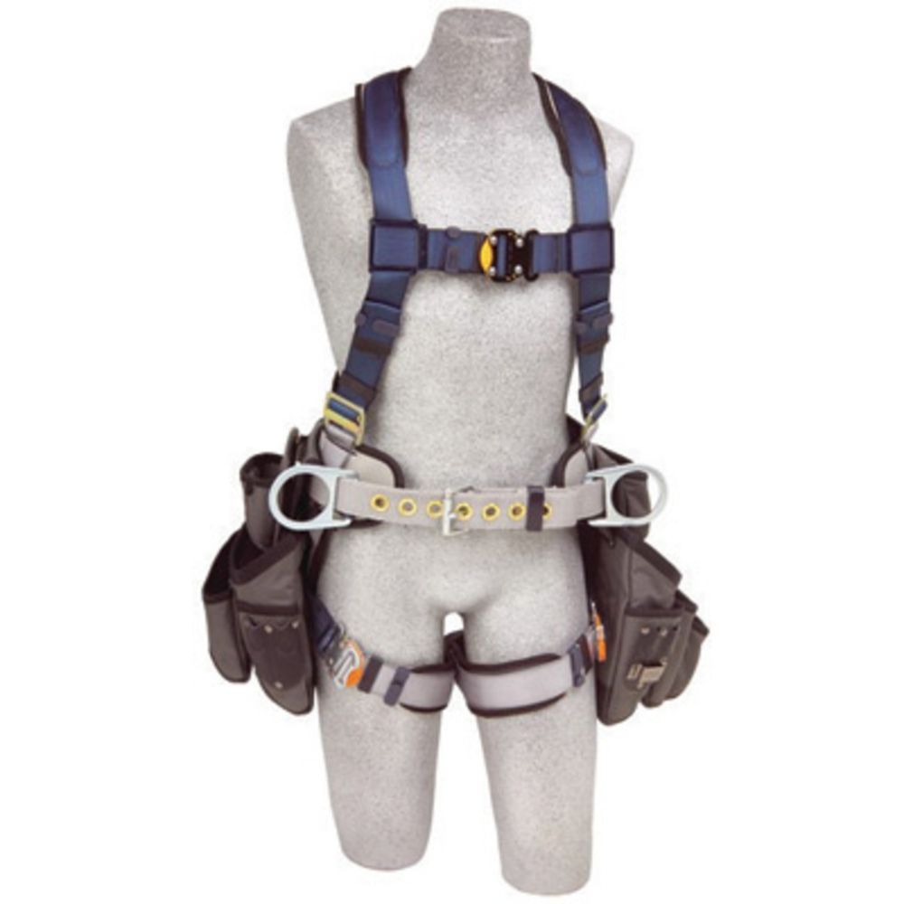 3M DBI-SALA Medium ExoFit Construction Full Body Vest Style Harness With Back And Side D-Ring, Belt With Sewn-In Pad, Tool Pouches, Quick Connect Chest And Leg Strap Buckle And Built-In Comfort Padding
