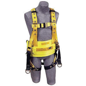 "3M  DBI-SALA  Small Delta  II Oil Style Harness With Back And Lifting D-Rings, Floating D-Ring, Tongue Buckle Leg Strap, Belt With Hip Pad, And 18"" Dorsal Extension"