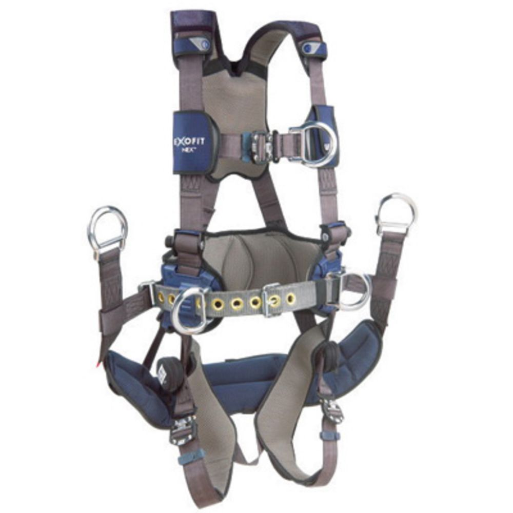 3M DBI-SALA Small ExoFit NEX Full Body Vest Style Harness With Tech-Lite Aluminum Back And Front D-Ring, Duo-Lok Quick Connect Leg And Chest Strap Buckle, Belt With Pad, Torso Adjuster, Back And Leg Comfort Padding, Seat Sling With Suspension D-Ring
