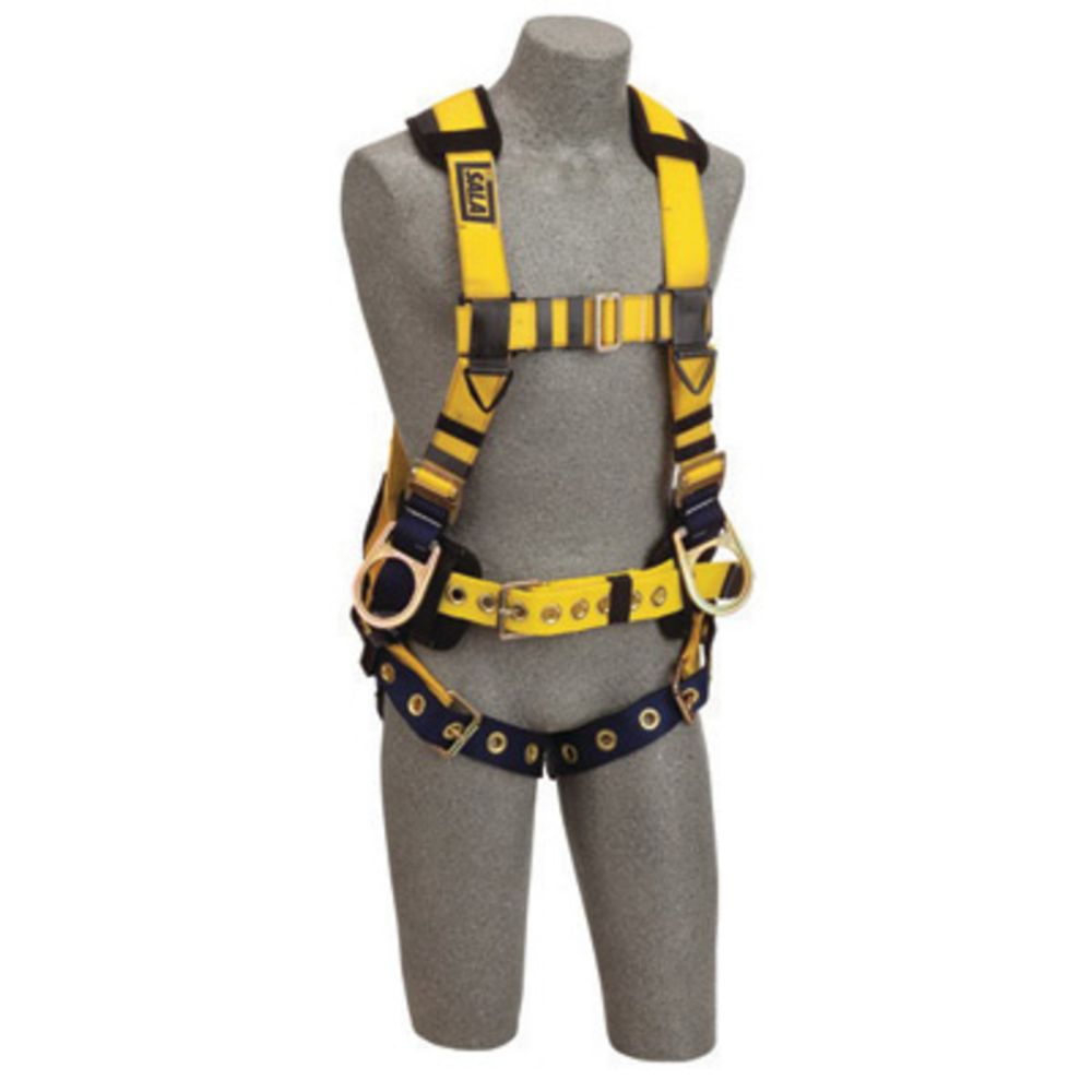 3M DBI-SALA X-Large ExoFit No-Tangle Full Body/Vest/Iron Worker Style Harness With Back And Side D-Ring, Tongue Leg Strap Buckle, Belt With Adjustable Support Strap And Pad, Shoulder Pad And Reinforced Seat Strap