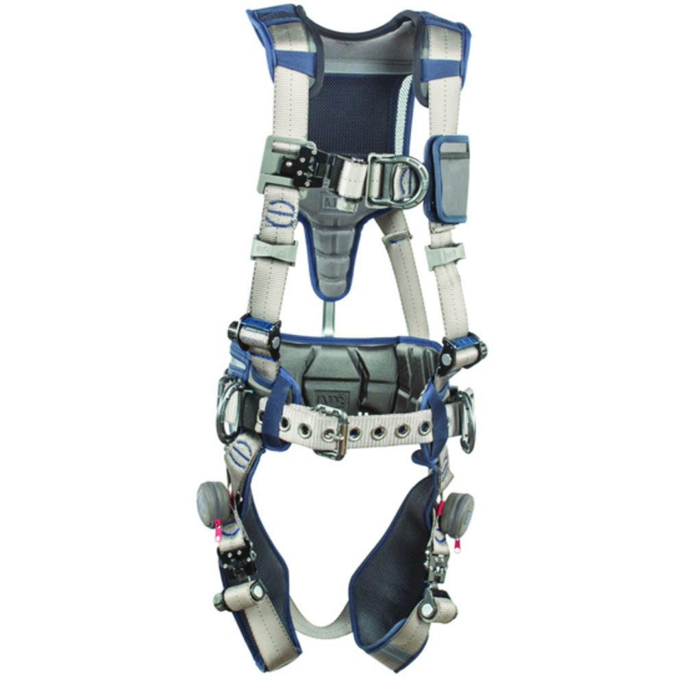 3M DBI-SALA X-Large ExoFit STRATA Construction Style Harness With Aluminum Back, Front And Side D-Rings, Tri-Lock Revolver Quick Connect Buckles, Waist Pad And Belt