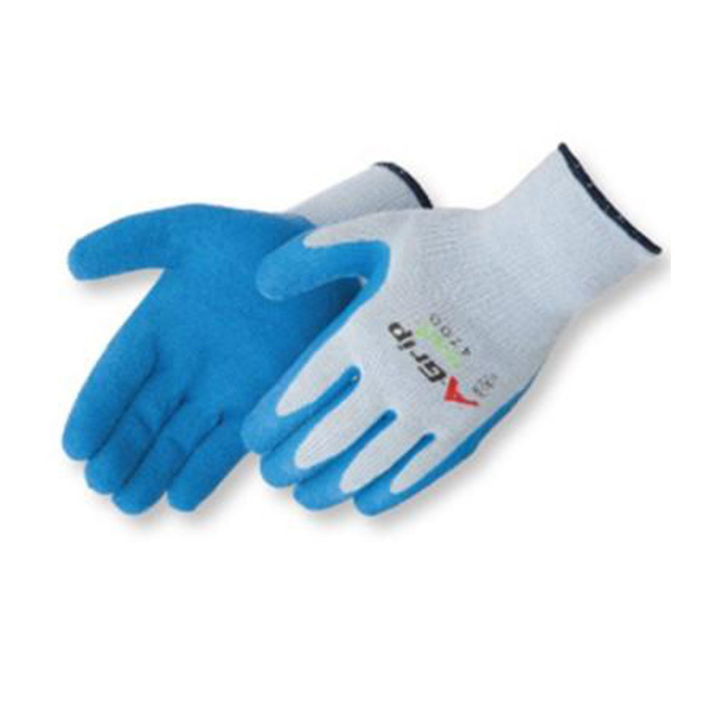 A-Grip - Premium Textured Blue Latex Palm Coated Gloves - Dozen