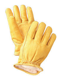 Radnor Large Yellow Deerskin Thinsulate Lined Cold Weather Gloves With Keystone Thumb, Slip On Cuffs, Double Stitched Hem And Shirred Elastic Wrist