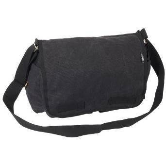 Everest Luggage Canvas Two Snap Pocket Messenger - Black