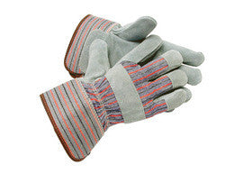 Radnor Large Gray Leather Fleece Lined Cold Weather Gloves With Wing Thumb, Safety Cuffs, Leather Pull Tab, Leather Knuckle Strap And Elastic Back