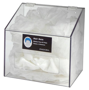 Rack'Em Racks-1 Compartment Clear Front Access Hair Net/Beard Cover/Shoe Cover/Arm Protector Dispenser