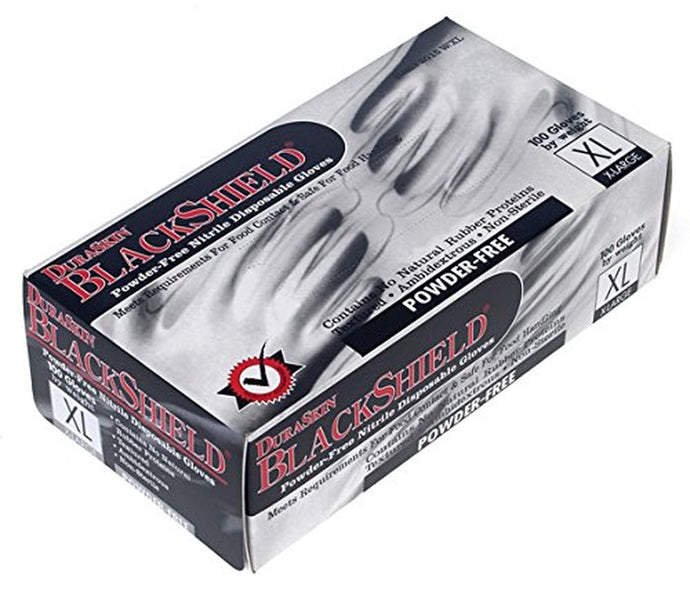 DuraSkin BlackShield 3.5 mil Nitrile Powder Free Disposable Gloves, 100 Gloves Per Dispenser, M