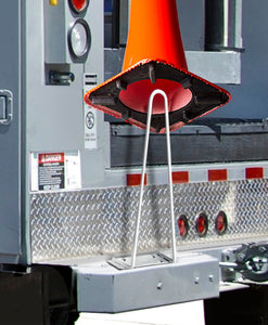 Rack'Em Racks-Traffic Safety Cone Holder. (Horizontal Mount) Fits 18″ and 28″ cones. White, 4 holes for mounting.