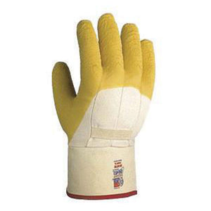 SHOWA Best Glove 66NFW-10 Size 10 The Original Nitty Gritty Cut Resistant Yellow Natural Rubber Palm Coated Work Gloves With White Cotton And Flannel Liner And Safety Cuff