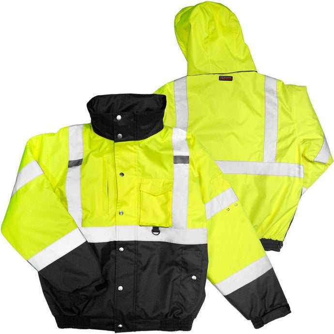 ML Kishigo - Lime High Visibility Ripstop Fleeced Lined Bomber Jacket