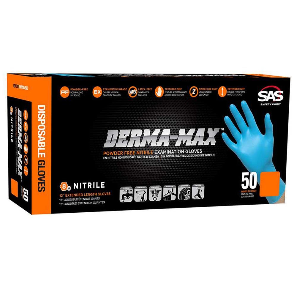NEW Box 50 pack 8 mil Nitrile Gloves Blue Lightly Powdered M-625 Size LARGE