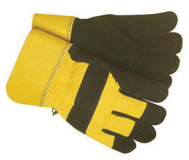 Radnor Large Black And Yellow Leather And Canvas Thinsulate Lined Cold Weather Gloves With Safety Cuffs And Waterproof Barrier