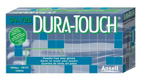 Ansell Dura-Touch Powder-Free Vinyl Gloves - Case Size Small