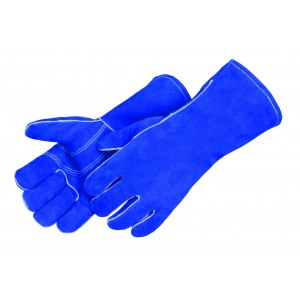 Blue Leather Welder with Reinforced Thumb & Palm - Premium Side Split - Reinforced Thumb - Dozen