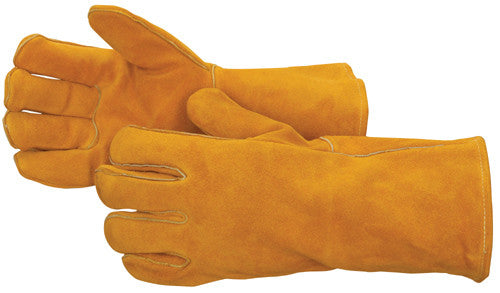 Bourbon Brown Leather Welder with Reinforced Thumb - Premium Side Split - Reinforced Thumb - Dozen