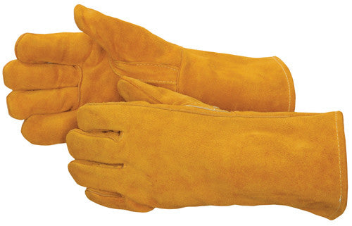 Bourbon Brown Leather Welder with Reinforced Thumb - Premium Select Shoulder - Reinforced Thumb - Dozen