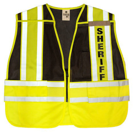 ML Kishigo - 200 PSV Pro Series Hi Black Lime Vis Sheriff Vest
