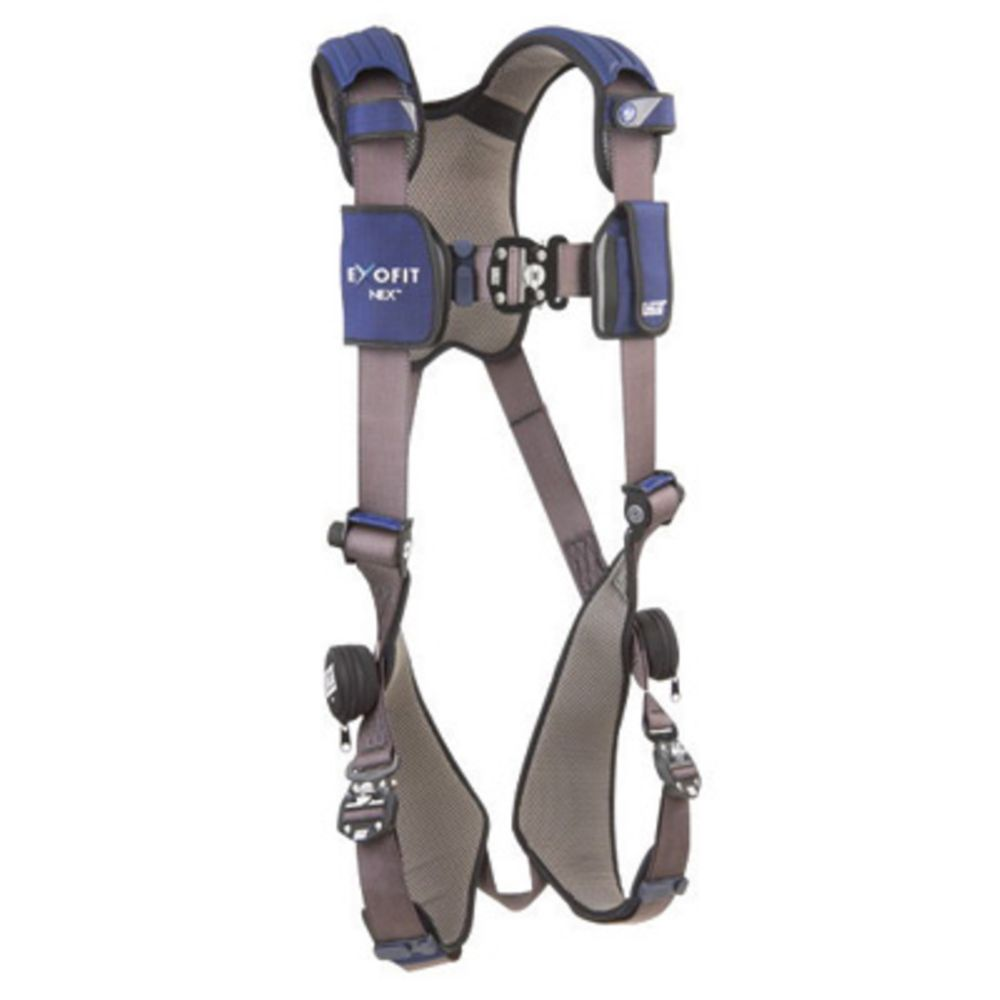 3M DBI-SALA Large ExoFit NEX Full Body/Vest Style Harness With Tech-Lite Aluminum Back And Side D-Ring, Duo-Lok Quick Connect Leg And Chest Strap Buckle, Torso Adjuster, Back And Leg Comfort Padding And Loops For Body Belt