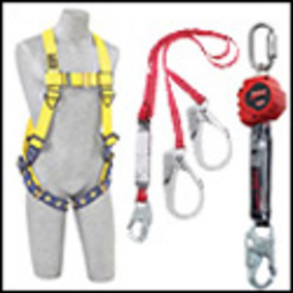 3M DBI-SALA Medium Exofit Tower Climbing Vest Style Harness With Back, Front And Side D-Rings, Belt With Pad, Removable Seat Sling With Positioning D-Ring Quick Connect Buckles And (6) Lanyard Attached