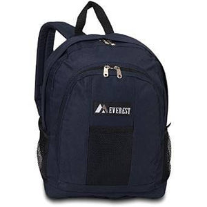 Everest Luggage Backpack with Front and Side Pockets  - Navy/Black