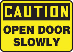 "Accuform Signs 10"" X 14"" Black And Yellow 4 mils Adhesive Vinyl Admittance And Exit Sign ""CAUTION OPEN DOOR SLOWLY"""