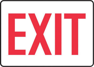 "Accuform Signs 7"" X 10"" Red And White 0.040"" Aluminum Admittance And Exit Sign ""EXIT"" With Round Corner"