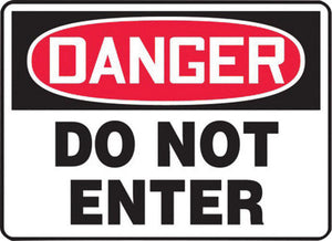 "Accuform Signs 10"" X 14"" Black, Red And White 0.040"" Aluminum Admittance And Exit Sign ""DANGER DO NOT ENTER"" With Round Corner"