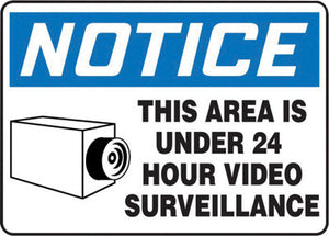 "Accuform Signs 7"" X 10"" Black, Blue And White 4 mils Adhesive Vinyl Admittance And Exit Sign ""NOTICE THIS AREA IS UNDER 24 HOUR VIDEO SURVEILLANCE """