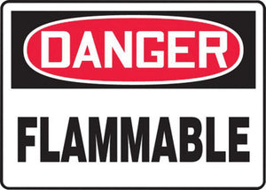"Accuform Signs 10"" X 14"" Black, Red And White 0.055"" Plastic Chemicals And Hazardous Materials Sign ""DANGER FLAMMABLE"" With 3/16"" Mounting Hole And Round Corner"