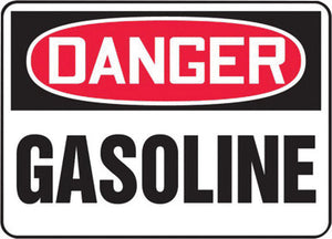 "Accuform Signs 7"" X 10"" Black, Red And White 0.055"" Plastic Chemicals And Hazardous Materials Sign ""DANGER GASOLINE"" With 3/16"" Mounting Hole And Round Corner"