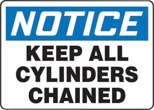 "Accuform Signs 7"" X 10"" Black, Blue And White 0.040"" Aluminum Cylinder And Compressed Gas Sign ""NOTICE KEEP ALL CYLINDERS CHAINED"" With Round Corner"