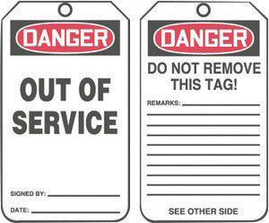 "Accuform Signs 5 3/4"" X 3 1/4"" Red, Black And White 15 mil RP-Plastic English Two Sided Safety Tag ""DANGER OUT OF SERVICE/DANGER DO NOT REMOVE THIS TAG! REMARKS …"" With Metal Grommeted 3/8"" Reinforced"