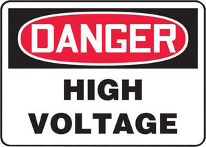 "Accuform Signs 10"" X 14"" Black, Red And White 4 mils Adhesive Vinyl Electrical Sign ""DANGER HIGH VOLTAGE"""