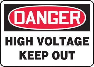"Accuform Signs 7"" X 10"" Black, Red And White 0.040"" Aluminum Electrical Sign ""DANGER HIGH VOLTAGE KEEP OUT"" With Round Corner"