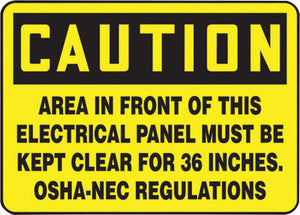 "Accuform Signs 7"" X 10"" Black And Yellow 0.055"" Plastic Electrical Sign ""CAUTION AREA IN FRONT OF THIS ELECTRICAL PANEL MUST BE KEPT CLEAR FOR 36 INCHES. OSHA-NEC REGULATIONS"" With"
