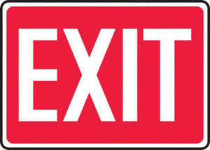 "Accuform Signs 10"" X 14"" White And Red 0.055"" Plastic Admittance And Exit Sign ""EXIT"" With 3/16"" Mounting Hole And Round Corner"