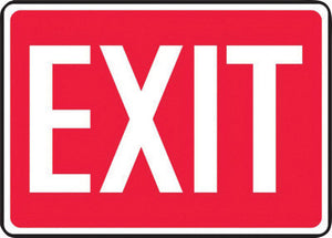 "Accuform Signs 7"" X 10"" White And Red 0.055"" Plastic Admittance And Exit Sign ""EXIT"" With 3/16"" Mounting Hole And Round Corner"