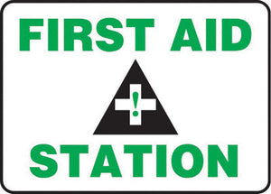 "Accuform Signs 7"" X 10"" Black, Green And White 4 mils Adhesive Vinyl First Aid Sign ""FIRST AID STATION """