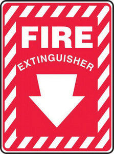 "Accuform Signs 10"" X 7"" White And Red 0.055"" Plastic Extinguisher Sign ""FIRE EXTINGUISHER "" With 3/16"" Mounting Hole And Round Corner"