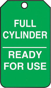 "Accuform Signs 5 3/4"" X 3 1/4"" White And Green 15 mil RP-Plastic Cylinder Status Tag ""FULL CYLINDER READY FOR USE"" With Metal Grommeted 3/8"" Reinforced Hole"