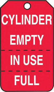 "Accuform Signs 5 3/4"" X 3 1/4"" White And Red 10 mil PF-Cardstock English, Perforated Cylinder Status Tag ""CYLINDER EMPTY IN USE/FULL"" With 3/8"" Plain Hole"