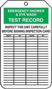 "Accuform Signs 5 3/4"" X 3 1/4"" Black, Green And White 10 mil PF-Cardstock English Equipment Status Tag ""EMERGENCY SHOWER & EYEWASH TEST RECORD INSPECT THIS UNIT CAREFULLY BEFORE SIGNING INSPECTION"