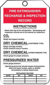 "Accuform Signs 5 3/4"" X 3 1/4"" Red, Black And White 10 mil PF-Cardstock English Fire Inspection Tag ""FIRE EXTINGUISHER RECHARGE AND INSPECTION RECORD"" With 3/8"" Plain Hole"