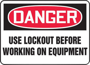 "Accuform Signs 10"" X 14"" Black, Red And White 0.055"" Plastic Lockout/Tagout Sign ""DANGER USE LOCKOUT BEFORE WORKING ON EQUIPMENT"" With 3/16"" Mounting Hole And Round Corner"