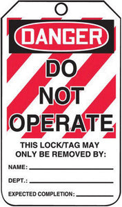 "Accuform Signs 5 3/4"" X 3 1/4"" Red, Black And White 10 mil PF-Cardstock English Two Sided Lockout/Tagout Safety Tag ""DANGER DO NOT OPERATE EQUIPMENT LOCKED OUT THIS LOCK/TAG MAY ONLY BE"