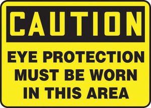 "Accuform Signs 7"" X 10"" Black And Yellow 0.055"" Plastic PPE Sign ""CAUTION EYE PROTECTION MUST BE WORN IN THIS AREA"" With 3/16"" Mounting Hole And Round Corner"