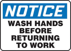 "Accuform Signs 10"" X 14"" Black, Blue And White 0.055"" Plastic Housekeeping Sign ""NOTICE WASH HANDS BEFORE RETURNING TO WORK"" With 3/16"" Mounting Hole And Round Corner"