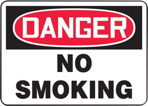 "Accuform Signs 10"" X 14"" Black, Red And White 0.040"" Aluminum Smoking Control Sign ""DANGER NO SMOKING"" With Round Corner"